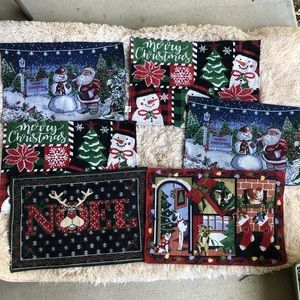 Embroidered Christmas Placemats Set (6)